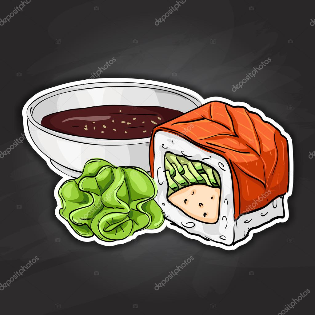 Vector sushi color sticker, Philadelphia roll