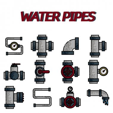 Water Pipes flat icon set