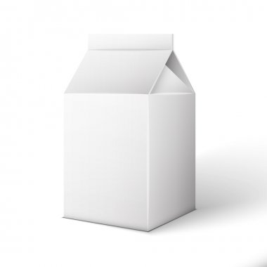 Milk, Juice, Beverages, Carton Package Blank White On White Back