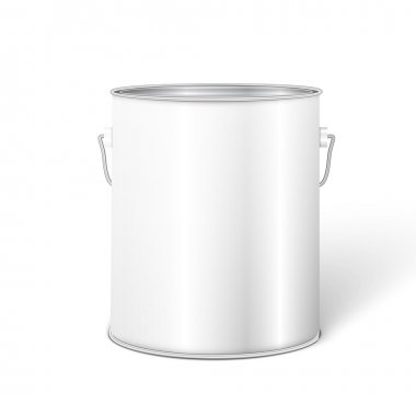 White Tall Tub Paint Bucket Container With Metal Handle.