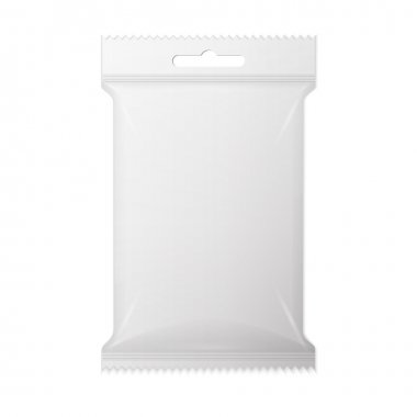 White wet wipes package with flap isolated on white background.