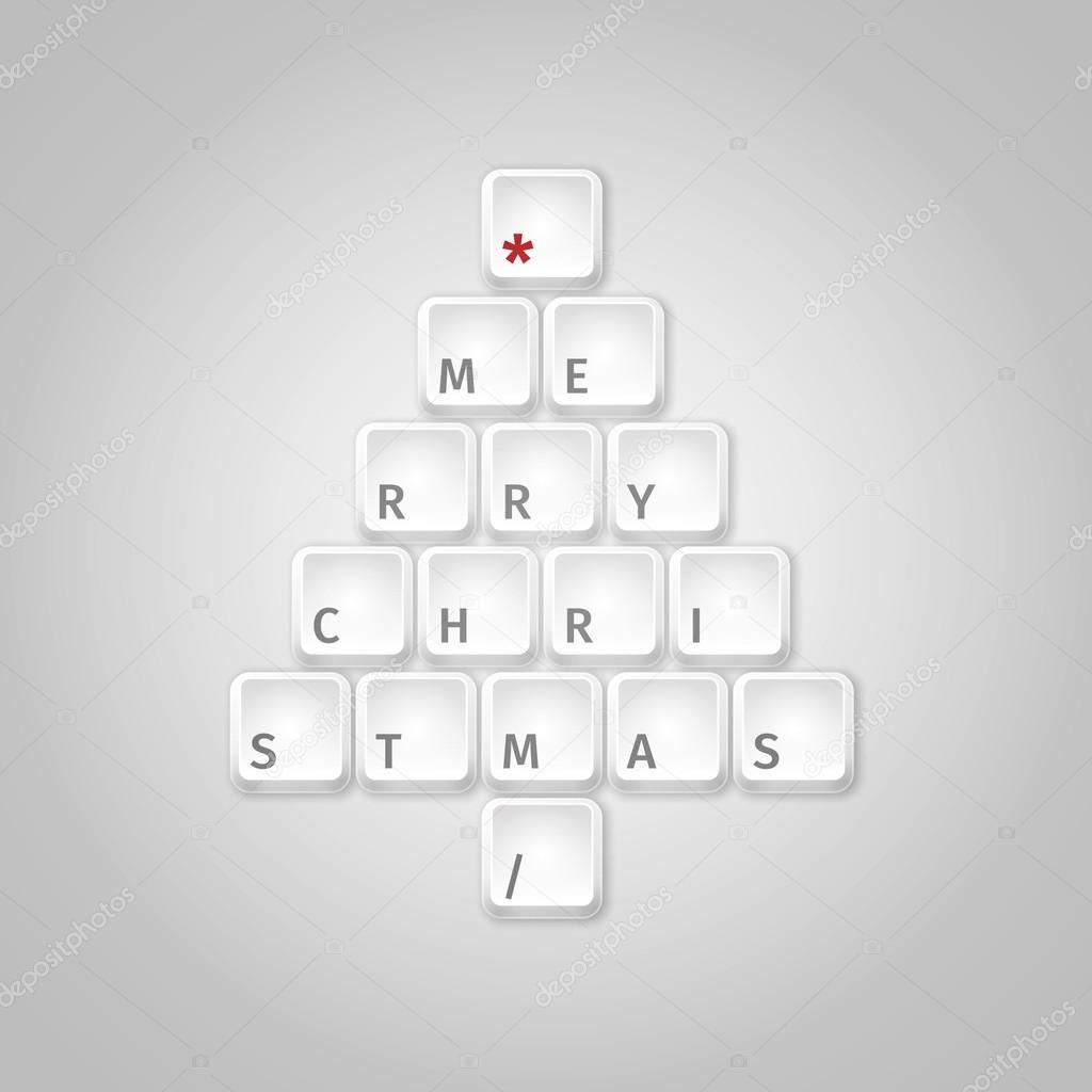 Christmas tree made of computer keys