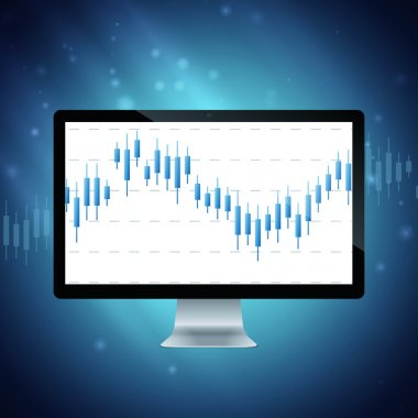 computer with forex chart on desktop.