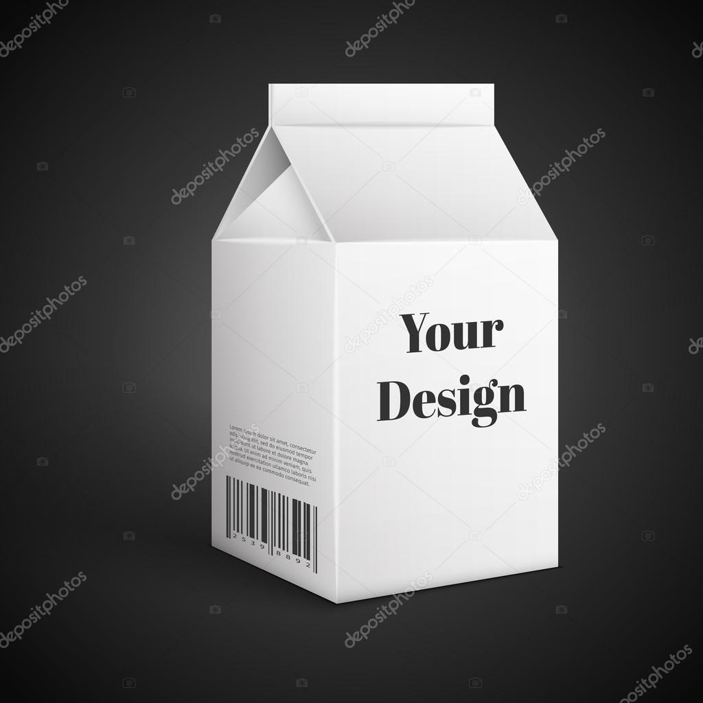 Milk, Juice, Beverages, Carton Package Blank White On Black Background Isolated