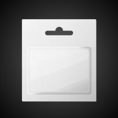 Plastic Transparent Blister With Hang Slot, Product Package. Illustration Isolated On Black Background