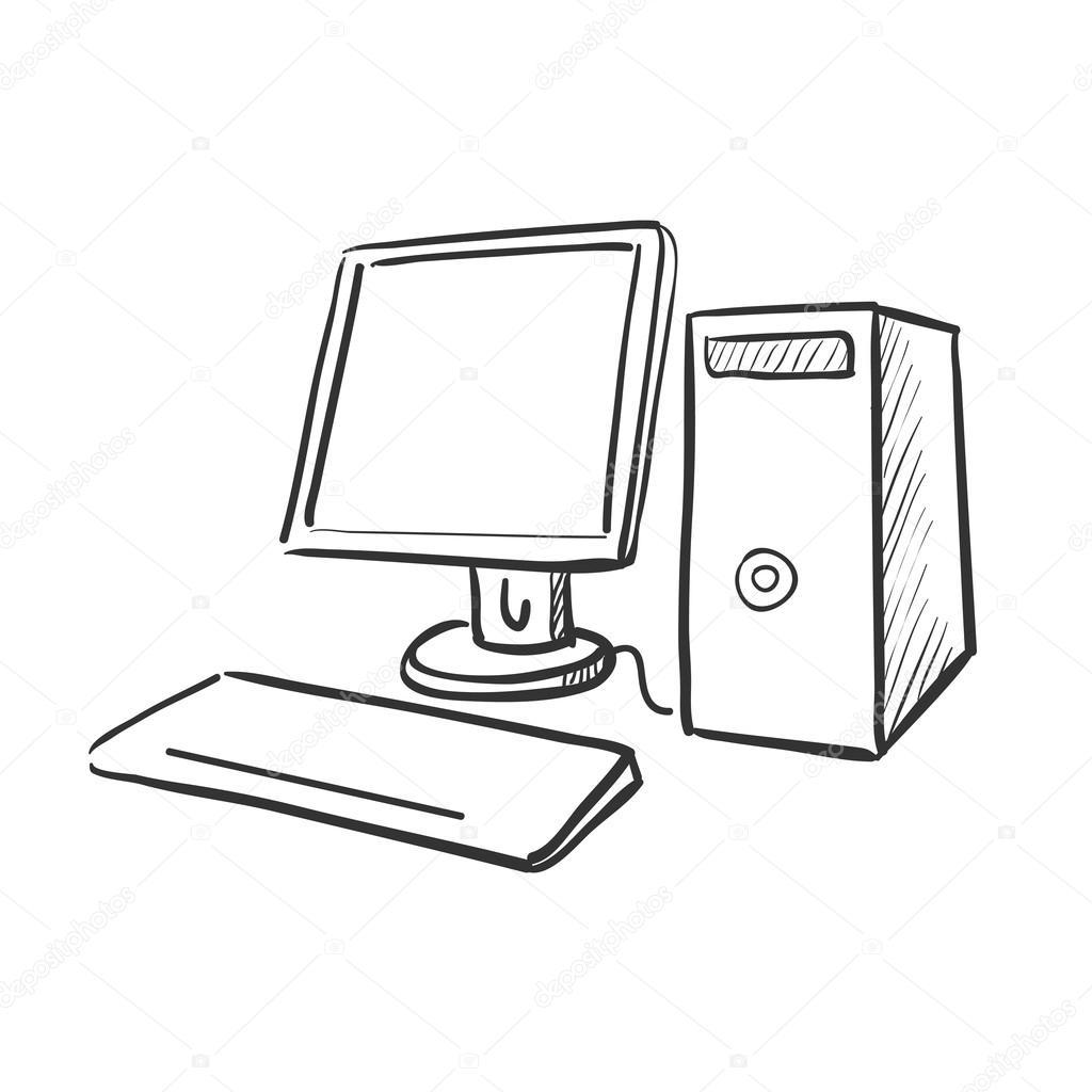 Hand tekenen doodle computer stockvector netkoff 70589305 for Computer tekenen programma