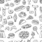 Ruky nakreslené rychlého občerstvení vzor