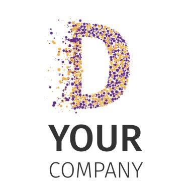 Letter D logo. Alphabet particles logotype vector design. Excellent vector illustration, EPS 10 stock vector