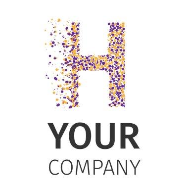 Alphabet particles logotype, Letter-H