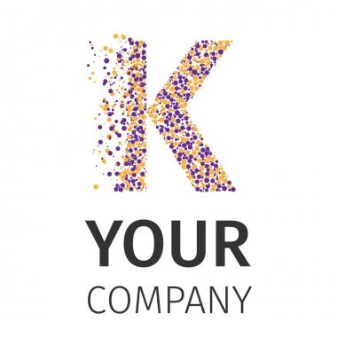 Alphabet particles logotype, Letter-K