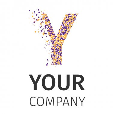 Alphabet particles logotype, Letter-Y
