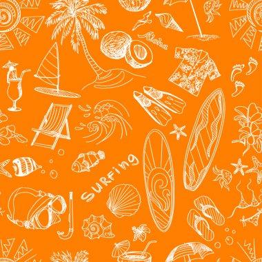 orange surfing hand draw pattern