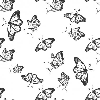 doodle butterfly pattern