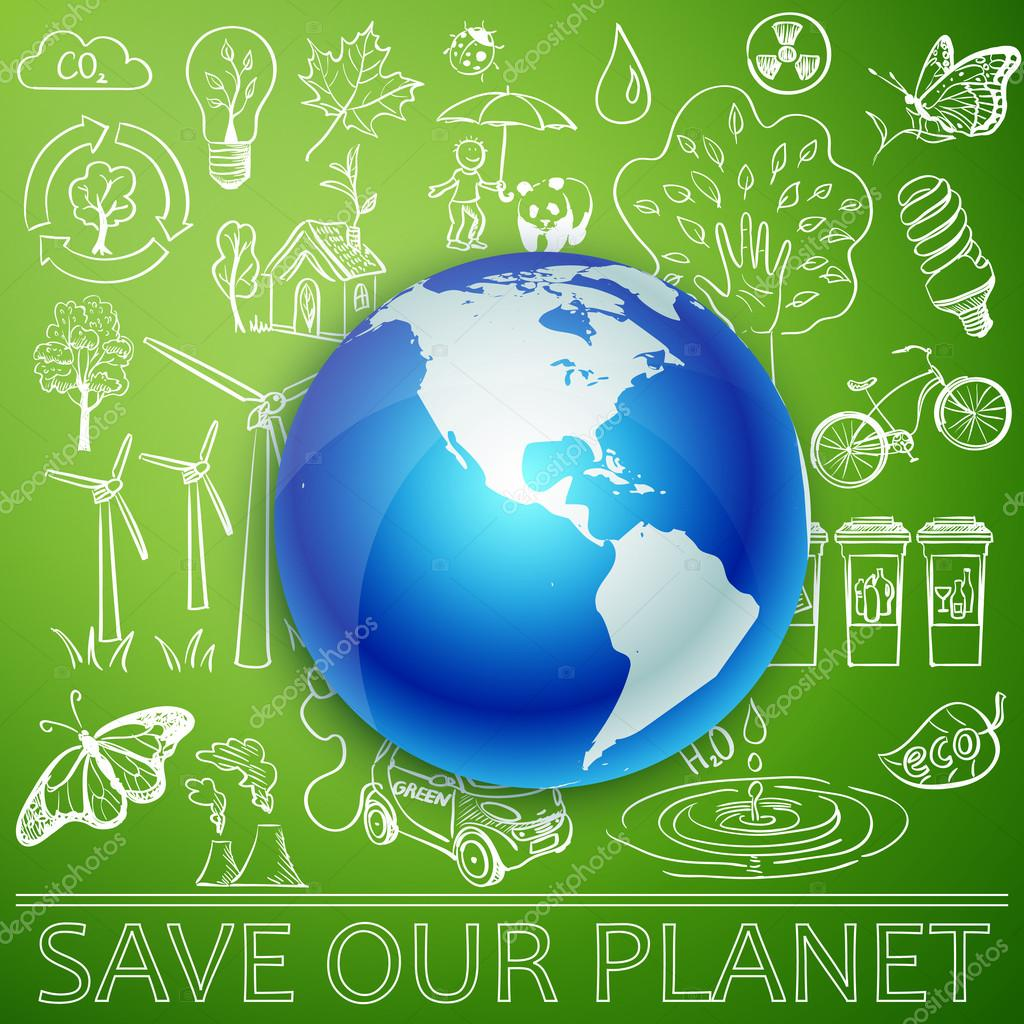 Save Our Planet, Earth and Ecology doodle icons