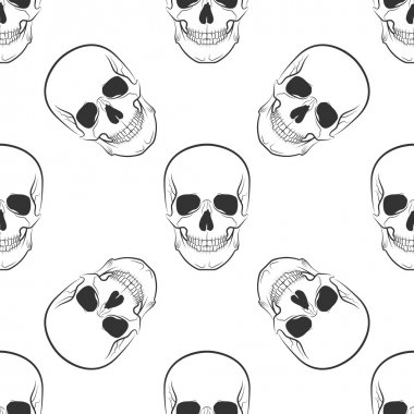 Vector seamless retro pattern, skull