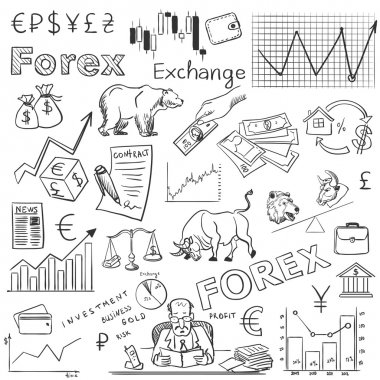 finance forex hand drawing
