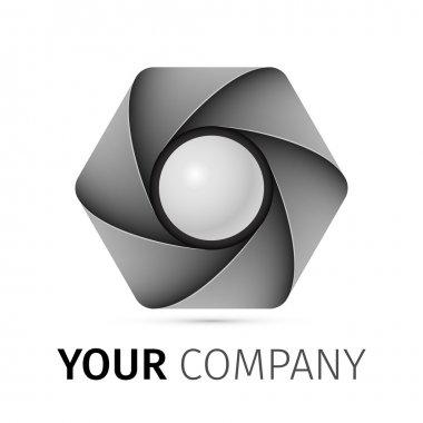 Abstract camera shutter logo