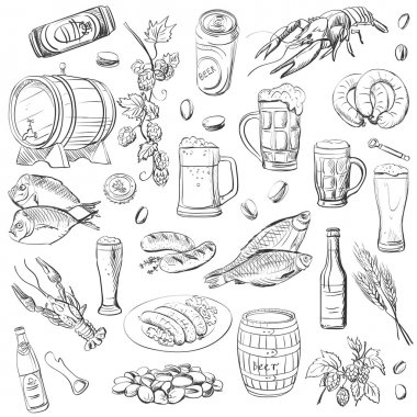 beer. hand drawing set of vector sketches