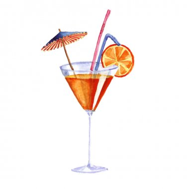 cocktail. Vector watercolor painting on white background