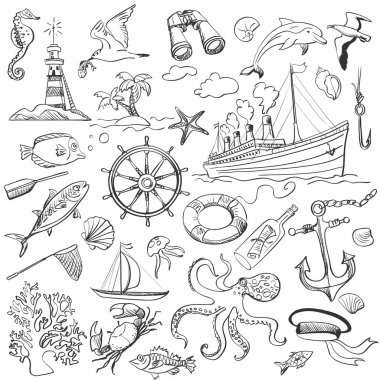 hand-drawn elements of marine theme