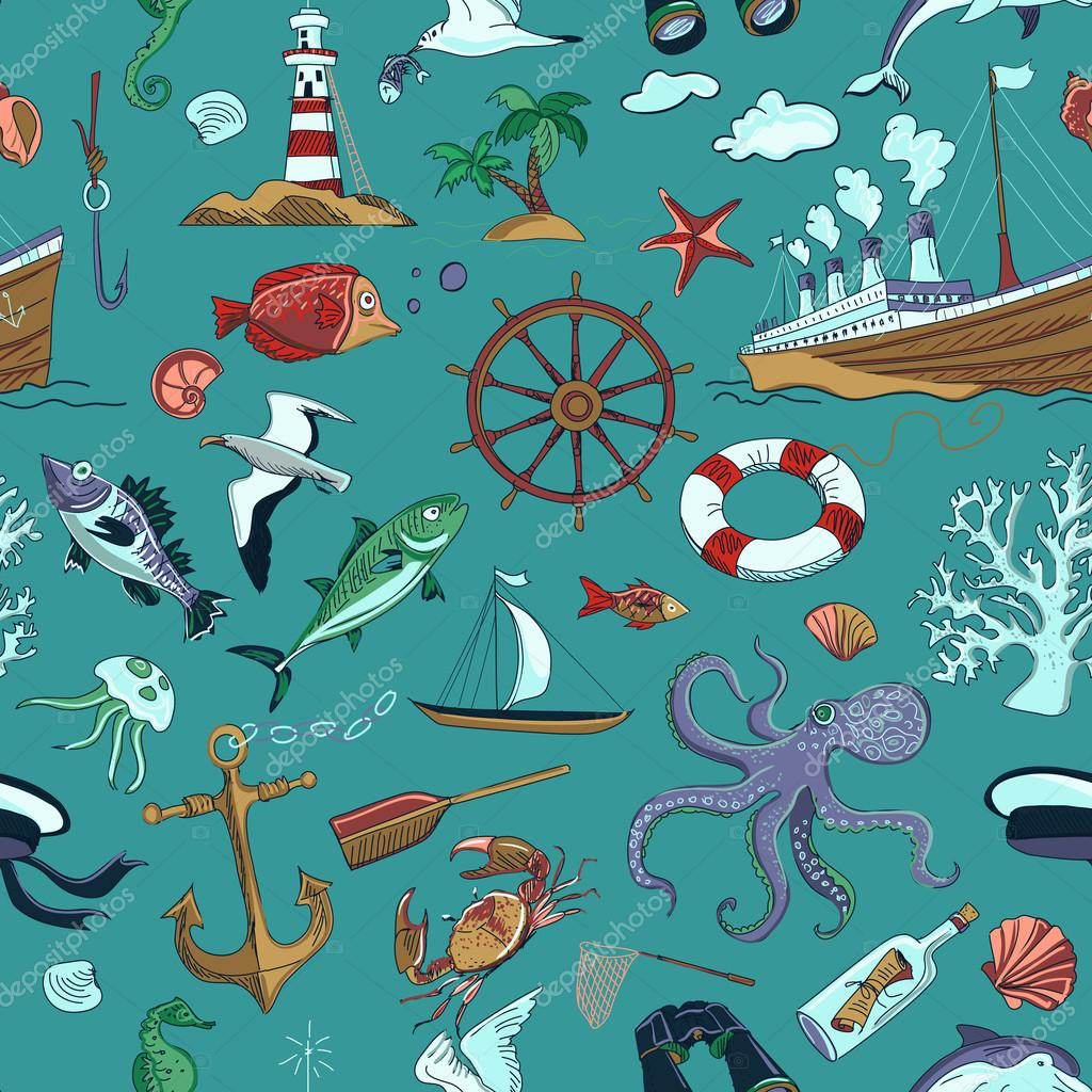 Colored Nautical or marine themed seamless pattern