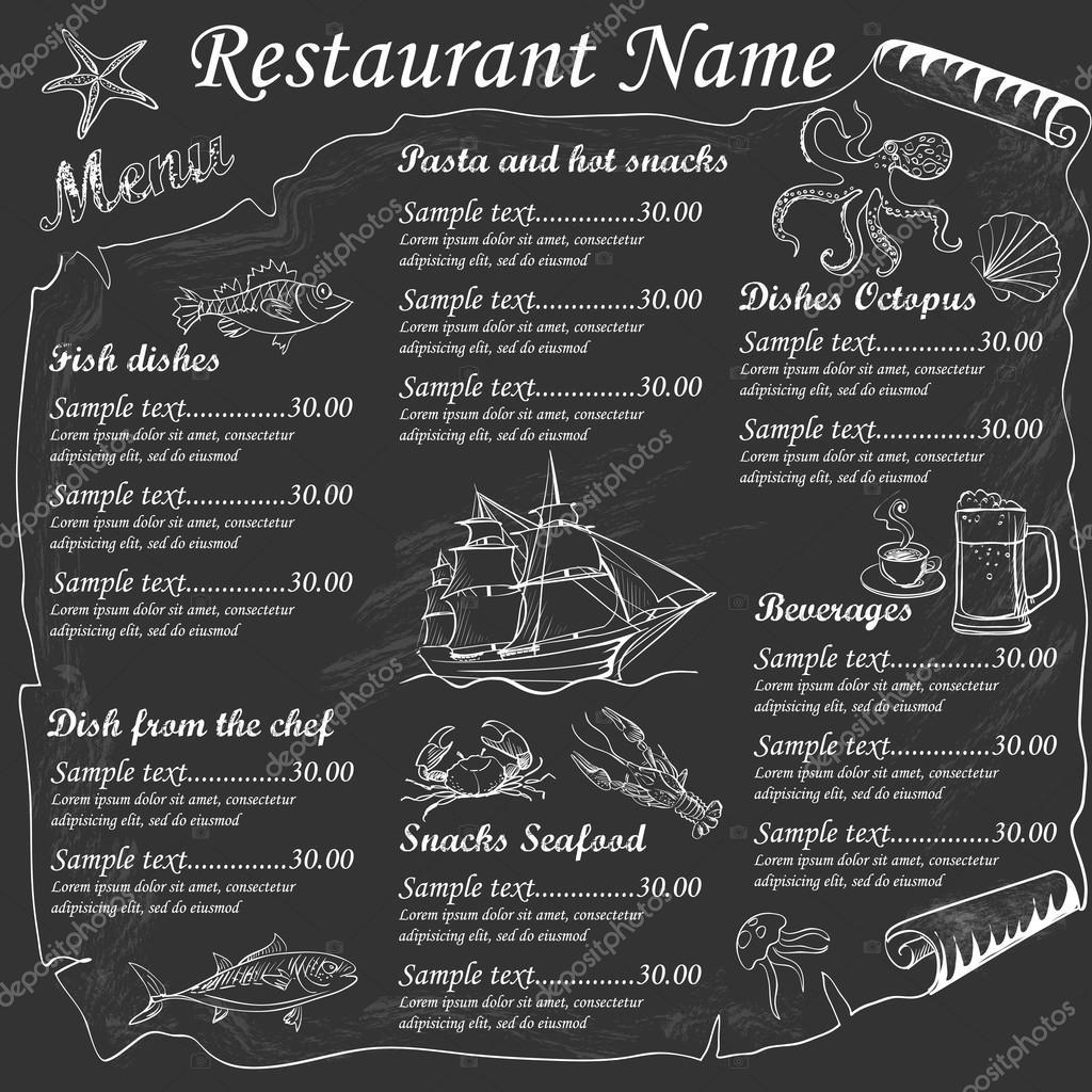 メニューのシーフード レストラン ストックベクター netkoff 78358000