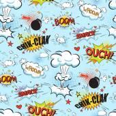 Fotografie Černá komické bubliny v pop-art stylu bezešvé pattern