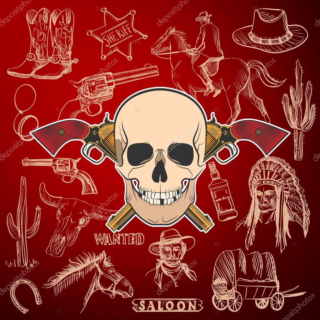 Mano dibujada colección Wild West con revólveres cruzados y cráneo. Indio 85b5d3b1780