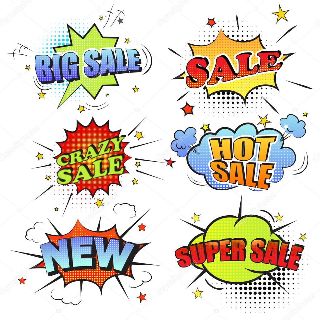 Set of pop art comic sale discount promotion vector illustration