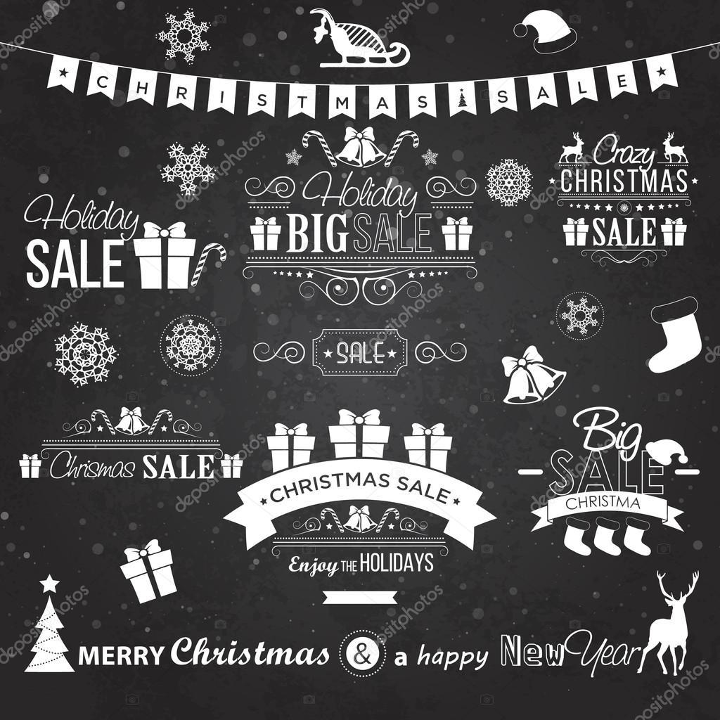 Christmas Board Design.Christmas Sale Design Set Labels Emblems On Black Board