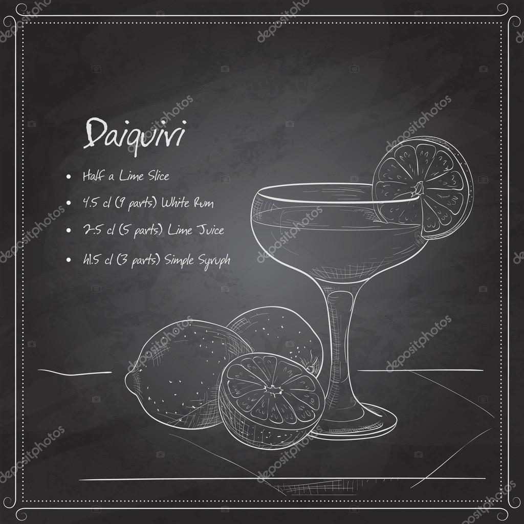 Cocktail daiquiri on black board