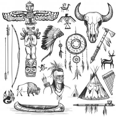 Set of wild west american indian designed elements.