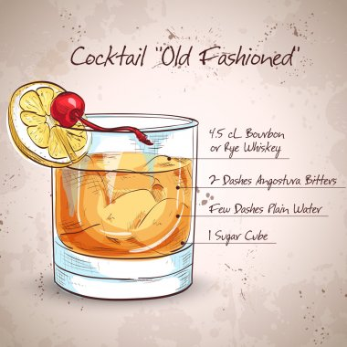Old fashioned cocktail, consisting of Bourbon, Angostura Bitter, sugar cubes, a few drops of water, ice cubes, orange, maraschino cherry stock vector