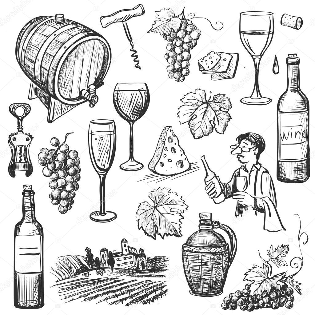Hand Drawn Sketch Vector Wine Set Stock Vector Netkoff