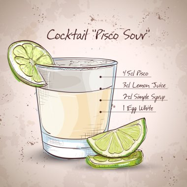 Peruvian cocktail named Pisco Sour made of Peruvian grape schnaps ,lime juice, syrup, egg white, and angostura stock vector