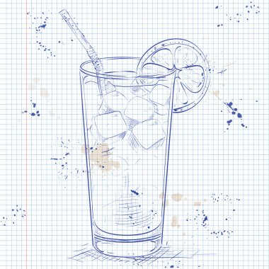 Cocktail Long Island Iced Tea on a notebook page