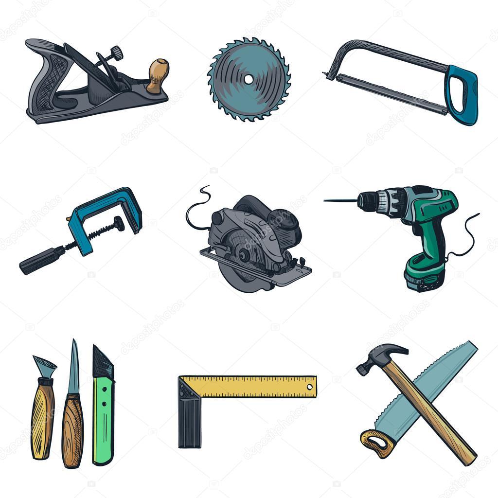 Ic nes de l 39 industrie et des outils pour travailler le - Herramientas de carpinteria nombres ...