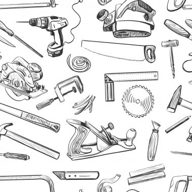 Vector seamless pattern with hand drawn common tools used by carpenters.