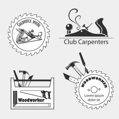 Carpentry works icons flat set with tools carpenter joinery products