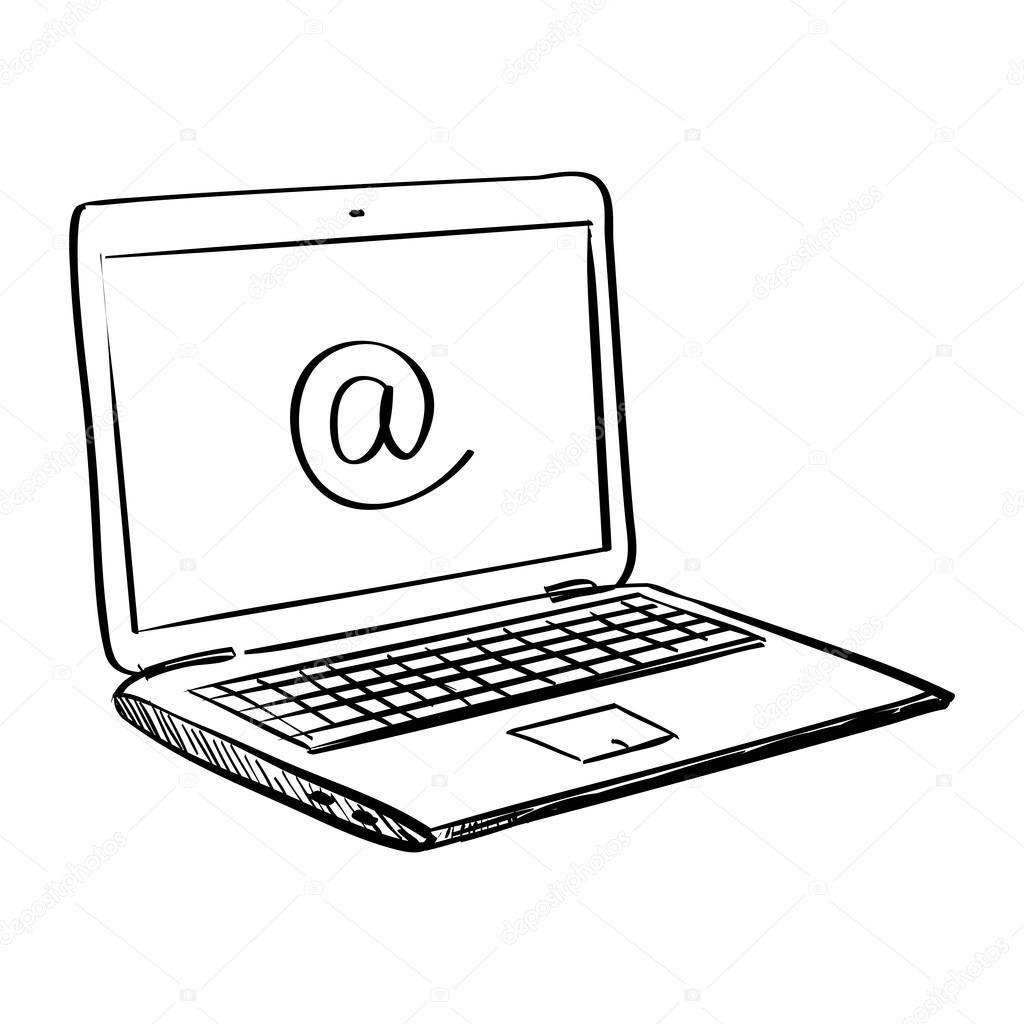 Hand tekenen doodle laptop stockvector netkoff 95253766 for Computer tekenen programma