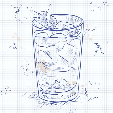 Cocktail Mint julep on a notebook page