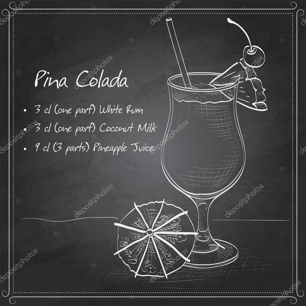 Cocktail Pina colada on black board
