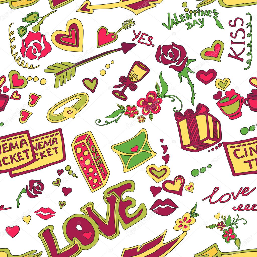 Colored Valentines day doodle pattern