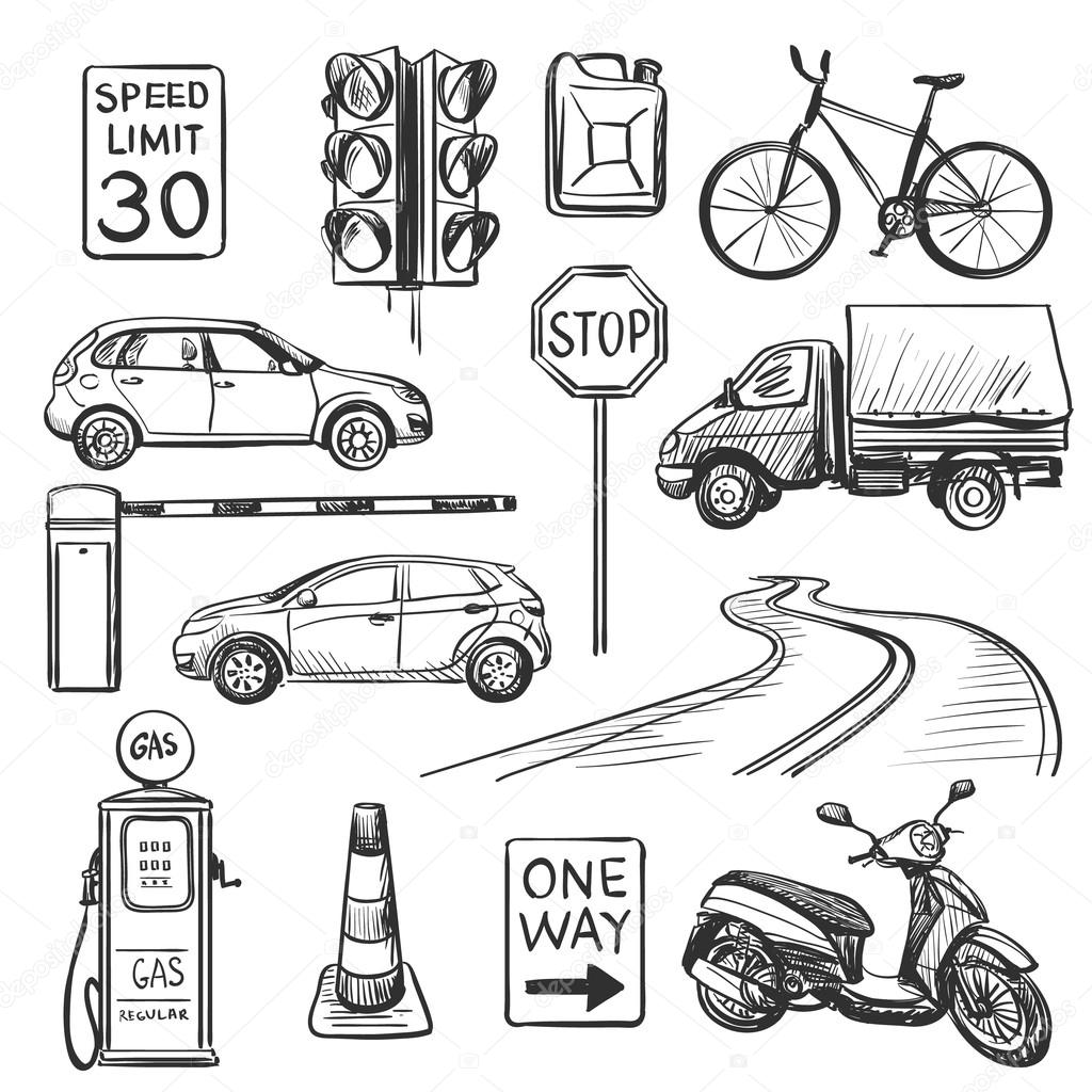 Traffic hand drawn icons set — Stock Vector © Netkoff #95272714