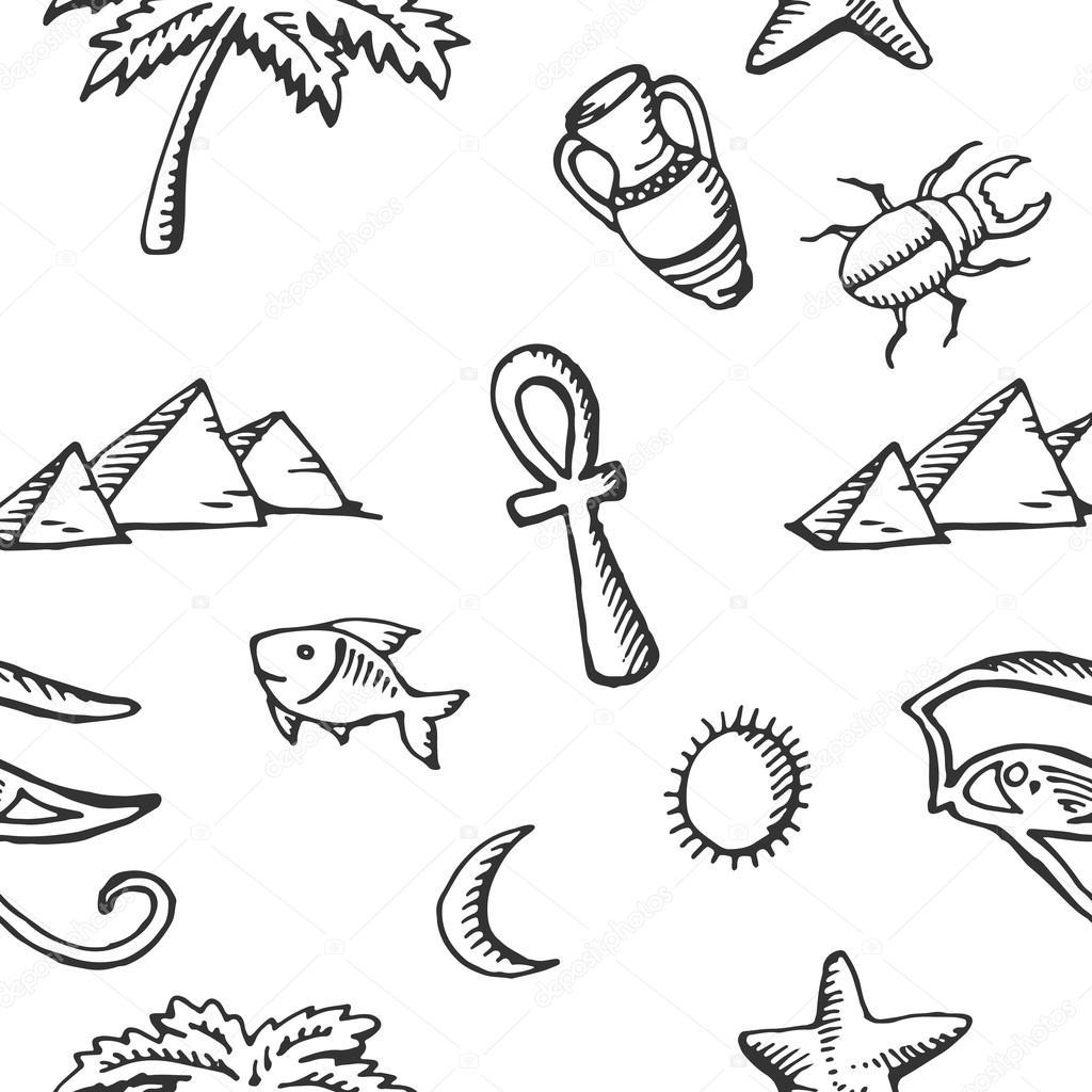 Dibujos: simbolos egipcios | Colección de dibujo de patrones sin ...