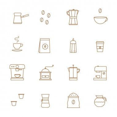 Coffee Related Vector Line Icons vector set. Coffee shop Barista equipment. Grinder, Pour over brewer, Kettle, French press, Moka pot, Cezve, bag, cup to go, capsule, machine, sugar, bean, mug finjan icon