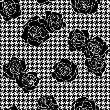 Roses with houndstooth background
