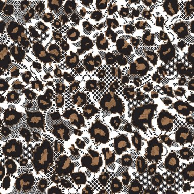 Leopard fur with lace background
