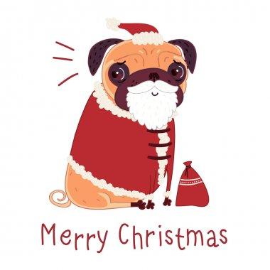 Pug in a Santa suit
