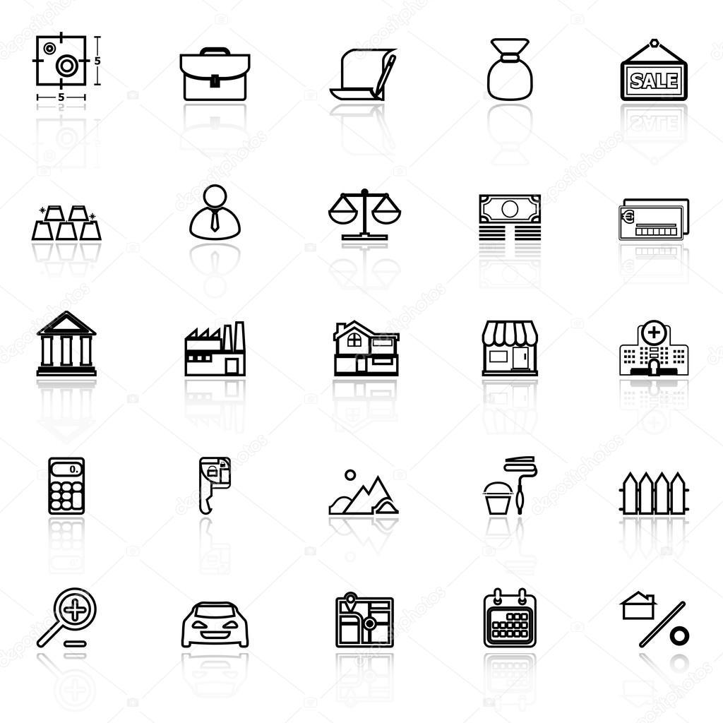 Ipoteca e icone di linea di mutuo per la casa con riflettono su ...